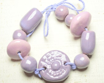 Flower Ceramic Bead Set - Handmade Ceramic Art Beads-Stoneware -Clay Ceramics- Pink - Purple- Jewelry Supplies- Craft Supplies 10053