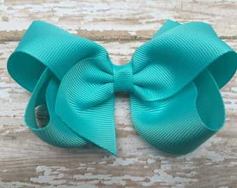 4 inch turquoise hair bow - turquoise bow, 4 inch bows, boutique bows, girls hair bows, toddler bows, girls bows, hair clips