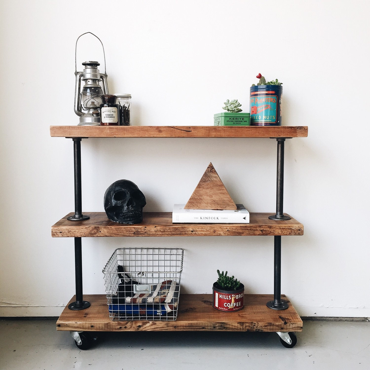 Amazing photo of Reclaimed Wood Utility Book Shelf 3 Shelves by TylerKingstonWoodCo with #8F583C color and 1500x1500 pixels