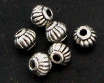 Little Ribbed Detail Round Pewter Spacer Beads - Set of 50