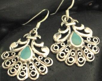 Pretty Teardrop Turquoise & Large Filigree Sterling Silver .925 Earrings