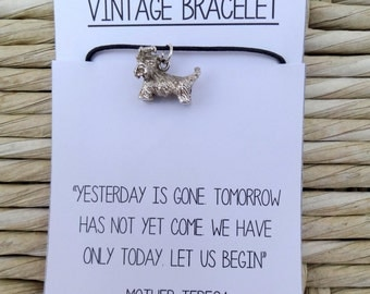 Vintage Sterling Silver Scottie Dog Charm (1960) on a Bracelet with Mother Teresa Quote