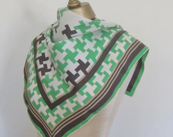 Vintage SILK scarf,  1950s scarf,  GEOMETRIC silk scarf,  hand rolled,  BRIGHT green and chocolate, houndstooth, sqaure silk scarf