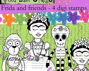 Frida Khalo set digi stamps