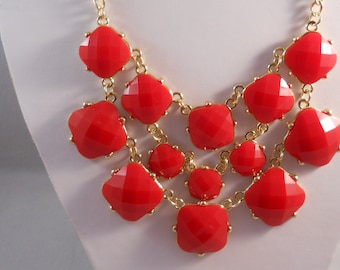 3 Row Bib Necklace with Red Beads on Gold Tone Chains