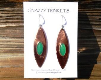 Marquise Earrings, Dangle Earrings, Long Earrings, Copper Jewelry, Gift for her, Drop Earrings, Marquise Gemstone Earrings, Bridal Earrings