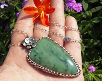 Jade Necklace, Nephrite Jade Pendant, Large Jade Necklace, Green Jade Pendant, Unique Gift for Her, One of a Kind, Ready to Ship