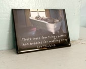 "Antique Porcelain Doll Magnet Bath Adventures of Claudia ""Few Things Better Than Bubbles"" Bubblebath Humor"