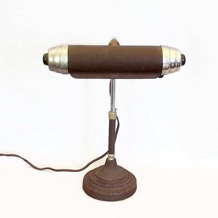 vintage metal desk lamp art deco adjustable by citybeepster. Black Bedroom Furniture Sets. Home Design Ideas