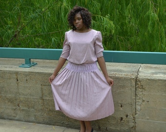Pink Dress, Women's Vintage Dress, Mauve Dress, Formal Dress, Ladies' Three-Quarter Sleeve Dress, Special Occasion Dress