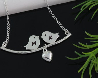 Genuine 925 Sterling Silver Love birds Necklace, 925 Sterling silver chain, personalized jewelry, Bridal Shower, Anniversary gift,