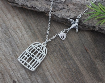 Sterling silver Bird Necklace, Cage Necklace Personalized charm, Be Free Bird Necklace, Sparrow Necklace - Leaving Home