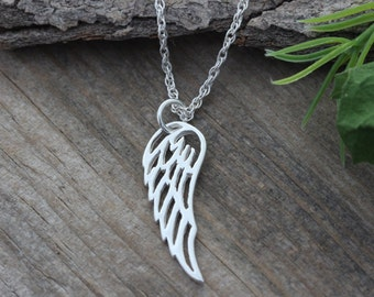 Angel Wing Necklace, Sterling Silver Angel Wing on sterling silver chain, Silver Wing Necklace, Friend, Sister,
