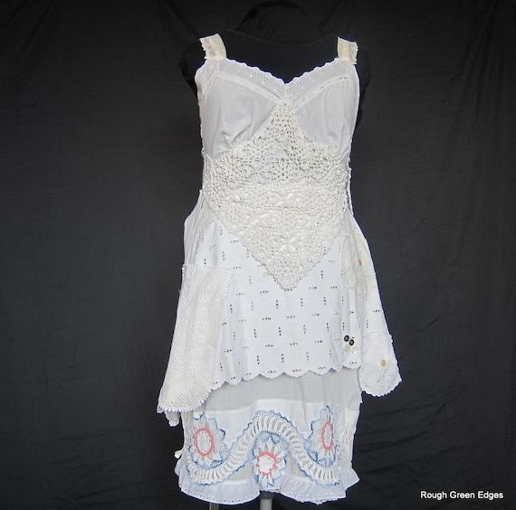 Vintage Doily Crochet Slip Dress Lagenlook By Roughgreenedges