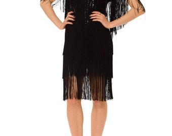 1980s Vintage Playful Sequin and Fringe Black Dress  Size: S/M