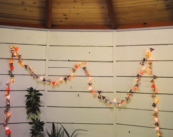 Paper Pyramid Light Garland - MARS - solar system paper lanterns, with stars, alien bugs, and the colors of Mars