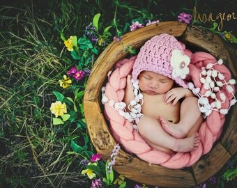 Baby Girl hat with Earflaps pompoms and flower, pink newborn hat -Dusty Pink, light pink ,ivory,off white- Made to Order, girl newborn props