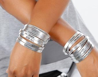 Engraved Cuff Bracelet Aluminum - Copper - Nu Gold Engraved Cuff Expressions Bracelets Gift Idea - Hand Stamped Cuffs