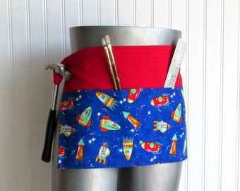 Canvas Utility Apron - Red & Blue Rockets