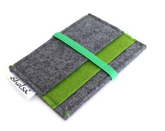 Little Wallet, Card Organizer, Card Wallet, Felt Wallet, Small Wallet, Coin wallet- Charcoal Grey & Olive Green felt