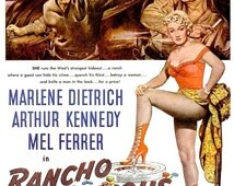 1952 Marlene Dietrich Rancho Notorious Old Hollywood Movie Poster Old West Western Cowgirl Saloon Country Farmhouse Cinema Wall Art Decor Ad