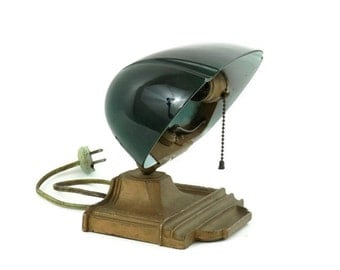 Emeralite Type Bankers Lamp Sconce Case Green Glass Lamp Shade