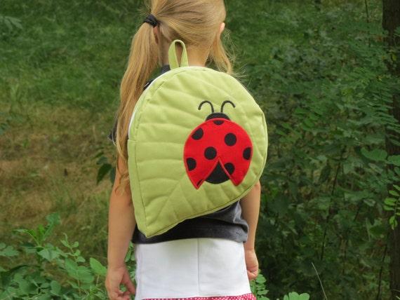 Leaf-shape backpack with ladybird, Toddler Backpack, Preschool Backpack,  Child Backpack, Adventurer Backpack