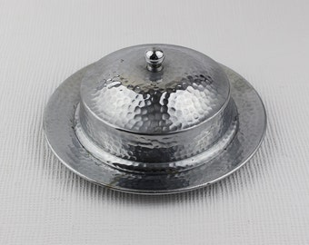 Hammered Chrome and Glass Round 1950s Butter Dish with Lid