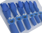 10 - Cookie Monster Birthday Party Cutlery, Cookie Monster Forks, Sesame Street, Elmo Birthday Party, Big Bird Party