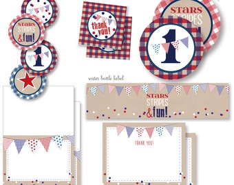Stars Stripes and Fun!  1st birthday patriotic red white and blue entire party decor package - instant digital download party decor