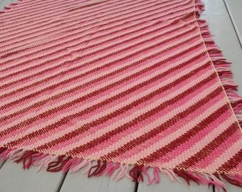 Vintage Pink Striped Rug