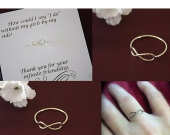3 Infinity Bridesmaid Ring, Infinity Ring, Infinity Ring Set, Sterling Silver, Card, Mother Gift, Daughter Gift, Bridesmaid Jewelry, Ring