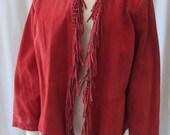 All Leather Red fringe JACKET size Large