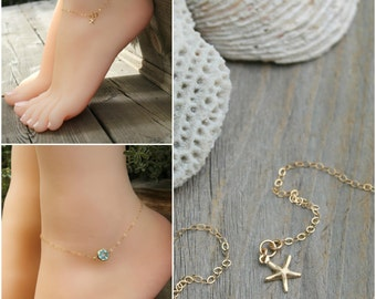 Aquamarine anklet, 14k gold filled, aquamarine gemstone & tiny starfish, delicate ankle bracelet, gold anklet, beach wedding, bridesmaids
