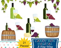 Wine and Grape Clipart, Winery and Vineyard Clip Art with Grape Leaves and Wine Glasses - Commercial Use OK