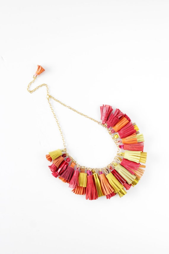 BOUQUET 22 / Mixed color natural leather tassel statement everyday necklace in red / yellowshades - Ready to Ship