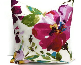 Floral Pillow Cover, Colourful Floral Pillow, Decorative Pillow, Colorful Floral Pillow Cover, Watercolor floral pillow