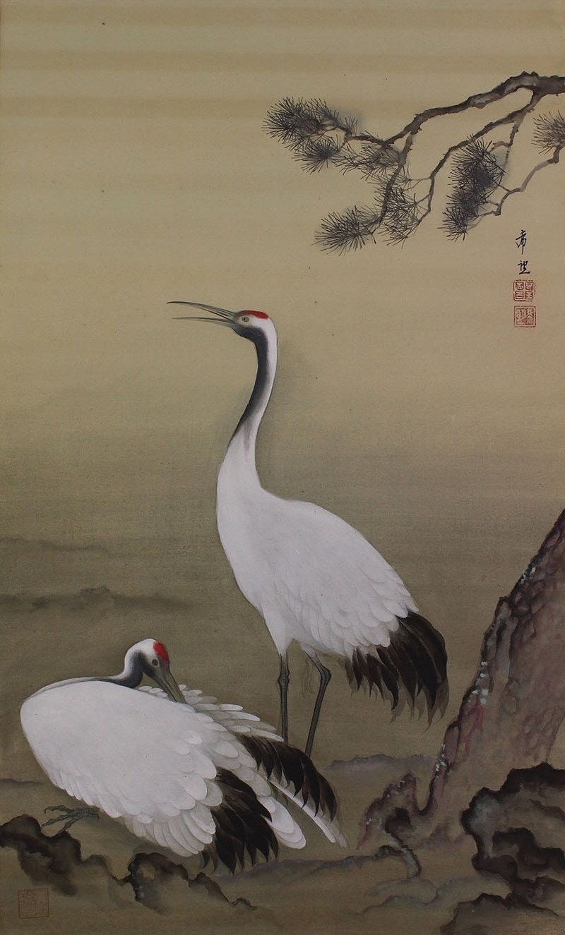 Japanese Fine Art Wall Hanging Scroll Pair of Crane Painting - photo#5
