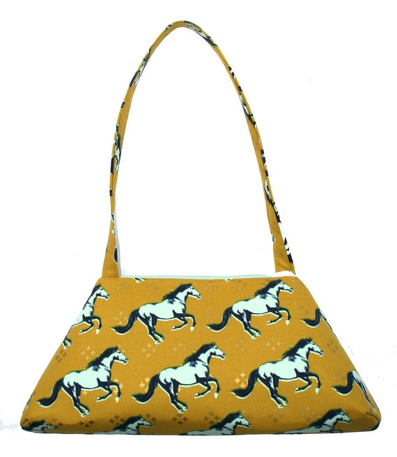 SALE! Horses, yellow and mint green, vintage inspired, retro style, tote