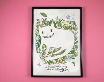 Cheshire cat print  - A4 art print - cat print - cat illustration - i like cats - cheshire cat - alice in wonderland - cats - Lewis Carroll