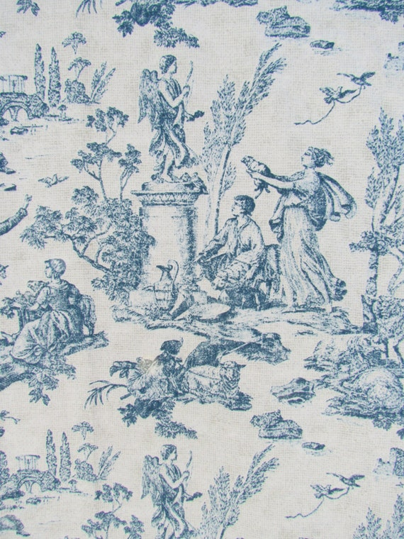 French Blue Toile Curtain Pair Shabby Cottage Chic