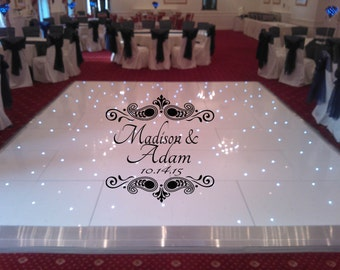HUGE PaisleyTheme Dance Floor Decal - Wedding Day - Fancy calligraphy Font Dance Floor Personalized Names Vinyl Lettering 39+ Colors