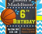 Basketball Pool Party Invitation - Custom- Pool Party Water Birthday- Modern-Boys Birthday-Invite Printable