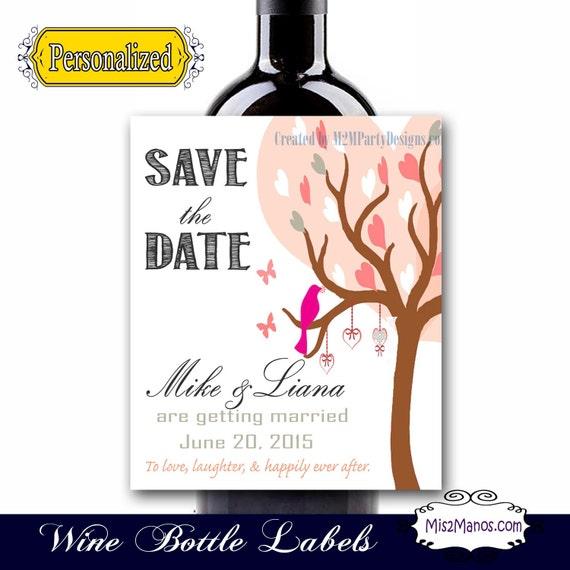 Wedding Engagement Wine Label Pdf: Save The Date Custom Wine Labels, Sparkling Cider