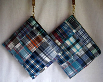SALE, Wristlet Blue Orange Plaid, Leather Strap Outlander Plaid Navy, Teal, Red, Orange Handmade by iDesign For You
