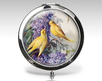 Personalized Compact Mirror | Purple Flower Lilacs | Magnifying Mirror | Birthday Gift | Bird Compact | Party Favor | Bridesmaid gift  C58
