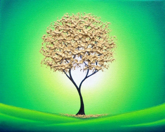 Glowing Golden Tree Print, Green and Gold Abstract Wall Art, Green Landscape Print, Giclee Print of Painting, Contemporary Tree Art Print