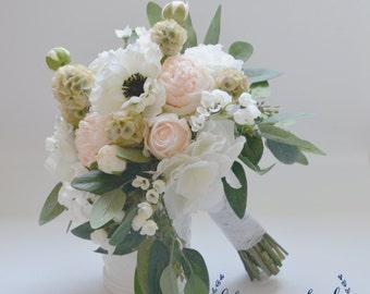Wedding Bouquet, Silk Bouquet, Silk Flower Bouquet, Silk Bouquet, Bridal Bouquet, Boho Bouquet, Silk Wedding Bouquet, Anemone, Blush