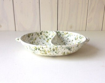 Mid Century Divided Dish. Candy dish. Paint Speckeled ceramic bowl.