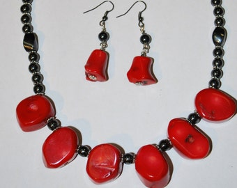 Bamboo Coral & Hematite Necklace Set